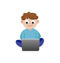 smiling cartoon little boy sitting and playing vector image