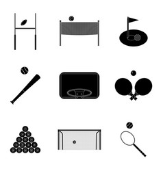 sport icons set black silhouette vector image
