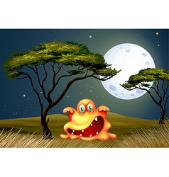 A monster near the tree scaring in the middle of vector image