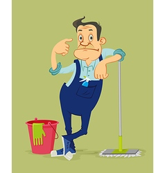cleaner with mop vector image