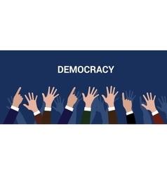 democracy democration concept crowd people raise vector image vector image