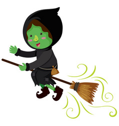 green witch flying on magic broom vector image vector image