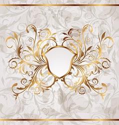 Grunge vintage heraldic shield seamless floral vector image vector image