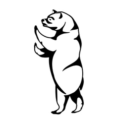 Monochrome silhouette with bear of standing vector