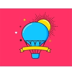 Outline modern colorful banner hot air balloon vector image vector image