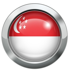 Singapore flag metal button vector image