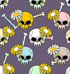 Skulls and flowers seamless pattern Cute vector image vector image