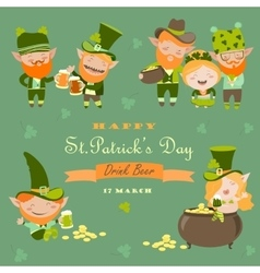 St Partick day with leprechaun vector image vector image