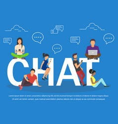 chat of young people using mobile vector image