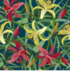 Seamless background from yellow and red tiger lily vector image