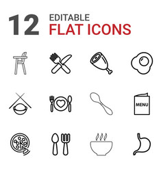 12 dinner icons vector