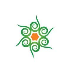 Abstract swirl leaf eco logo vector