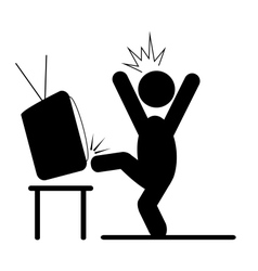 Angry man kicking TV pictogram flat icon isolated vector
