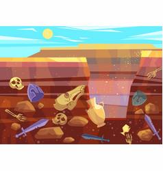 Archaeological excavations in desert landscape vector