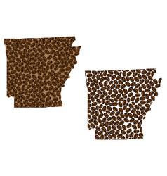 Arkansas - map coffee bean vector