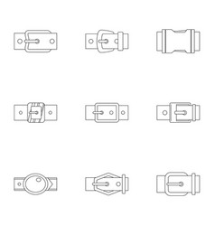 Belt buckle icon set outline style vector