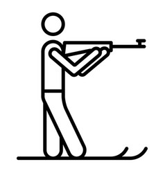 Biathlon shooter icon outline style vector