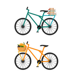 Bicycles with baskets full male envelopes and vector
