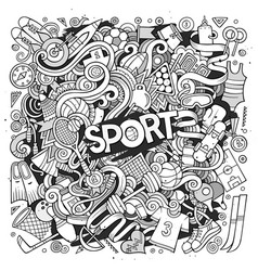 Cartoon cute doodles hand drawn sport vector