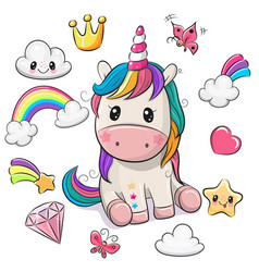 Cartoon unicorn and set cute design elements vector