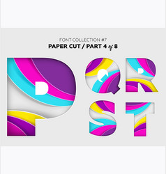 carved paper art font design beautiful 3d vector image