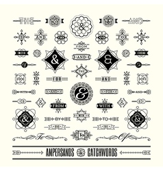 catchwords ampersands art deco retro vintage frame vector image