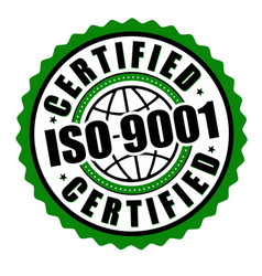 certified iso 9001 label or sticker vector image