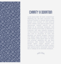 Charity and donation concept with thin line icons vector