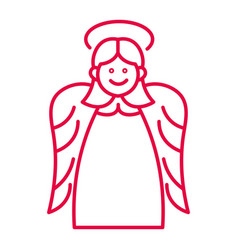 Christmas angel with halo and wings liner icon vector