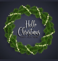 christmas fir-tree wreath and glowing sparks vector image