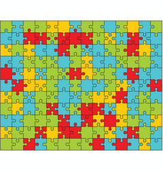 Colorful puzzle separate pieces vector