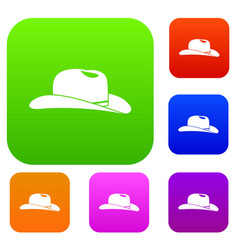 Cowboy hat set collection vector