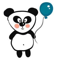 cute black and white panda holding a blue balloon vector image