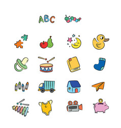 cute children hand drawn toys and education vector image