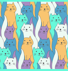 cute color hand drawn doodle cats pattern vector image