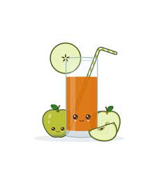 cute kawai smiling cartoon apple juice vector image
