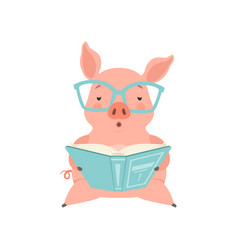 Cute smart little pig reading a book funny piglet vector