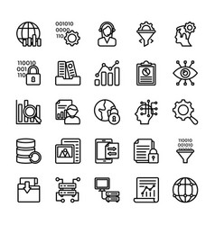 Data management line icons collection vector
