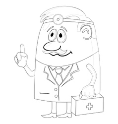 Doctor with case contour vector image