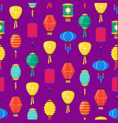 east chinese paper street or house lanterns vector image