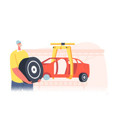 Engineer character with tyre or wheel in hands vector