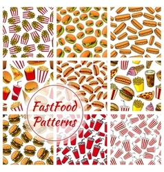 Fast food and drinks seamless pattern background vector image