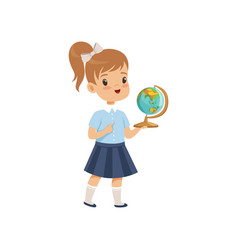 girl standing with globe at geography lesson vector image