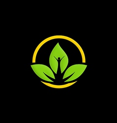 Green leaf ecology people logo vector