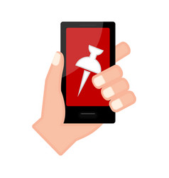 Hand holding a smartphone icon vector