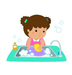 happy girl washing dish on white background vector image