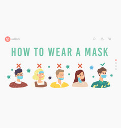 How to wear mask landing page template people vector