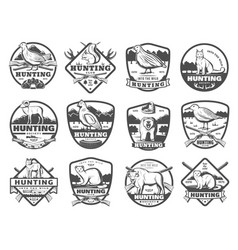 Hunt club wild animals and birds icons vector