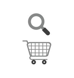 Icon concept of shopping cart with magnifying vector