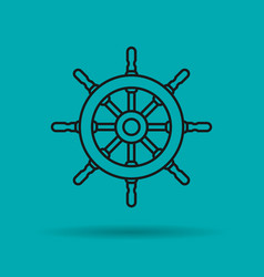 Isolated linear icon of sea wheel vector